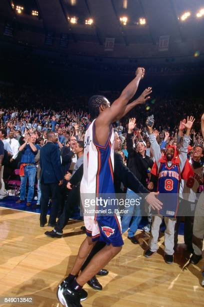 Latrell Sprewell of the New York Knicks celebrates against the Indiana Pacers during Game Six of the 1999 Eastern Conference Finals on June 11 1999...
