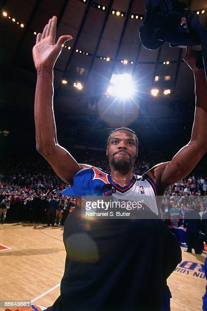Latrell Sprewell of the New York Knicks celebrates winning the Eastern Conference Championship after Game Six of the third round during the 1999 NBA...