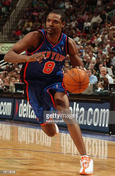 Latrell Sprewell of the New York Knicks drives against the Utah Jazz during the NBA game at Delta Center on April 4 2003 in Salt Lake City Utah The...