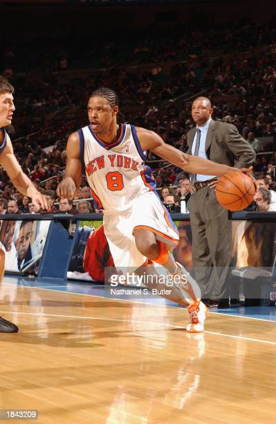 Latrell Sprewell of the New York Knicks drives to the basket during the game against the Orlando Magic at Madison Square Garden on February 28 2003...