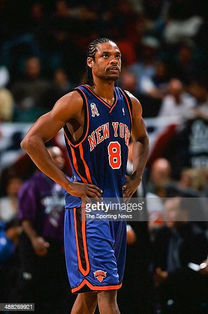 Latrell Sprewell of the New York Knicks during the game against the Charlotte Hornets on November 2 2001 at Charlotte Coliseum in Charlotte North...