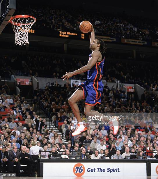 Latrell Sprewell of the New York Knicks goes for the dunk during the NBA game against the Portland Trail Blazers at The Rose Garden on February 17...
