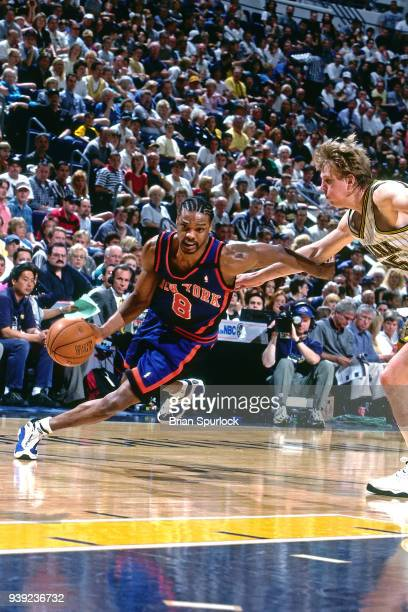 Latrell Sprewell of the New York Knicks handles the ball against the Indiana Pacers on April 4 1999 at Market Square Arena in Indianapolis Indiana...