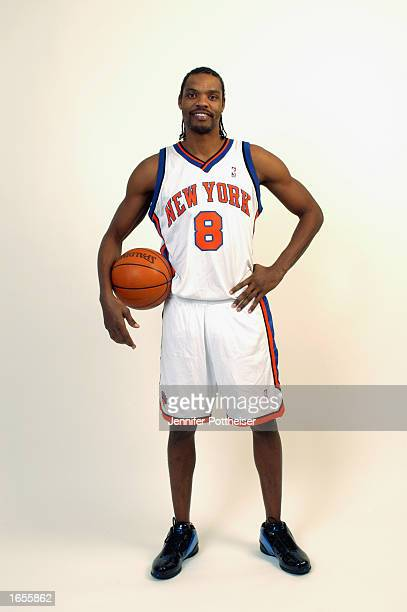 Latrell Sprewell of the New York Knicks poses during a portrait shoot at Madison Square Garden on November 5 2002 in New York New York NOTE TO USER...