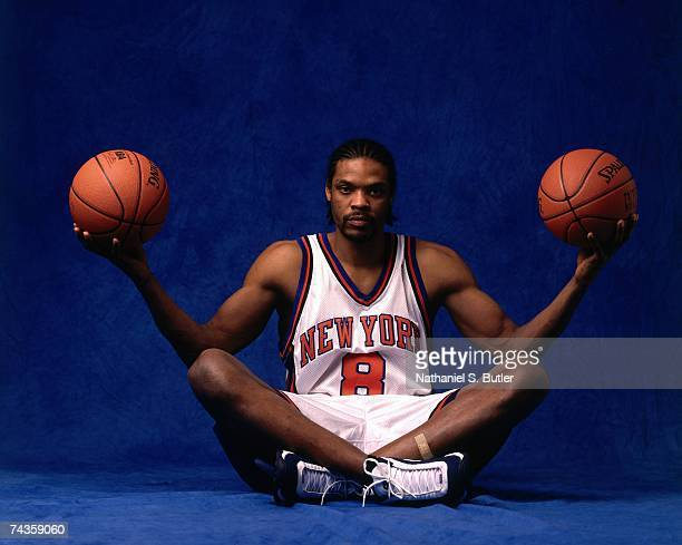 Latrell Sprewell of the New York Knicks poses for portrait prior to Game Two of the 1999 NBA Finals played on June 18 1999 at the Alamodome in San...