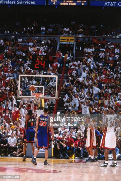 Latrell Sprewell of the New York Knicks shoots a foul shot during the 2000 NBA Eastern Conference Semifinals against the Miami Heat at the...