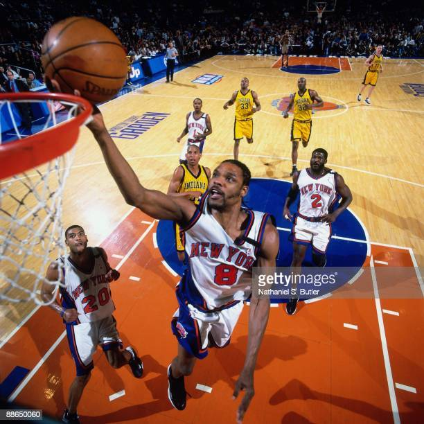 Latrell Sprewell of the New York Knicks shoots a layup against the Indiana Pacers in Game Three of the Eastern Conference Finals during the 1999 NBA...