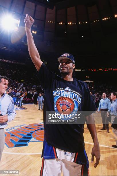 Latrell Sprewell of the New York Knicks waves to the crowd after winning the 1999 NBA Eastern Conference Finals against the Indiana Pacers at Madison...