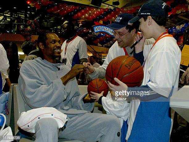 Latrell Sprewell sign autographs for fans during Knicks Bowl 3 at Chelsea Piers in New York City New York United States