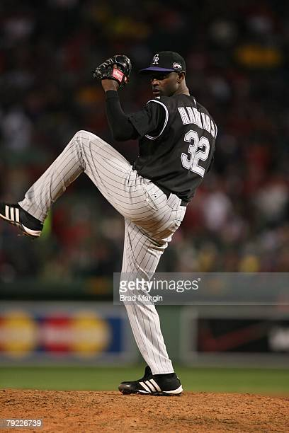 LaTroy Hawkins of the Colorado Rockies bats during game one of the World Series against the Boston Red Sox at Fenway Park in Boston Massachusetts on...