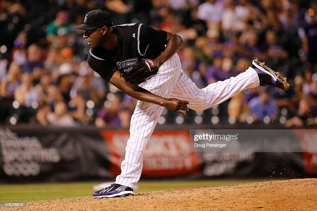 LaTroy Hawkins #32 of the Colorado Rockies works in relief against the Arizona Diamondbacks in the ninth inning at Coors Field on June 23, 2015 in Denver, Colorado. The Rockies defeated the Diamondbacks 10-5.
