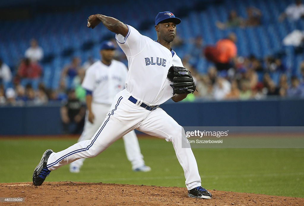 LaTroy Hawkins #32 of the Toronto Blue Jays delivers a pitch in the sixth inning during MLB game action against the Philadelphia Phillies on July 28, 2015 at Rogers Centre in Toronto, Ontario, Canada.