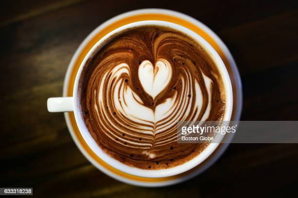 Latte art after a pour by manager Alex Mansfield is pictured at The Homestead Cafe in Boston's Dorchester neighborhood on Feb 19 2016