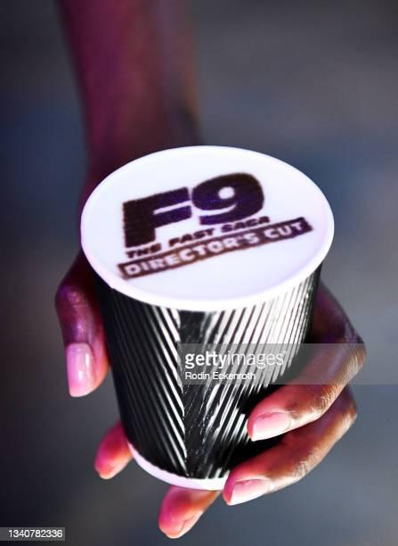 Latte art at the F9 Fest event on the Universal Studios backlot celebrating F9: The Fast Saga on September 15, 2021 in Universal City, California....