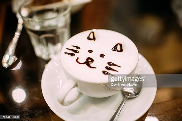'Latte art' cappuccino with cat face