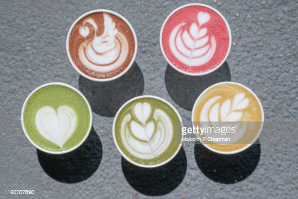 latte art - turmeric, beetroot, matcha, hot chocolate as alternative to coffees - art stock pictures, royalty-free photos & images
