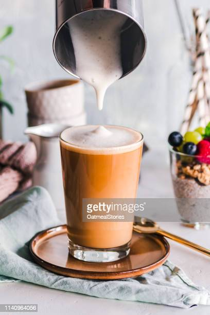 latte coffee drink and chia pudding - latte stock pictures, royalty-free photos & images