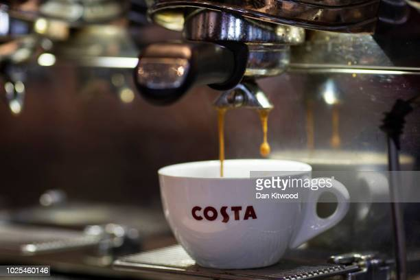 Latte is poured into a branded Costa Coffee mug at a Costa Costa coffee shop on August 31 2018 in London England CocaCola Cois to buy the UK...