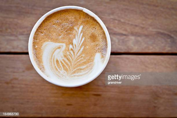 latte with wooden background - take away food stock pictures, royalty-free photos & images