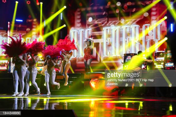 Latto performs onstage during the 2021 BET Hip Hop Awards at Cobb Energy Performing Arts Center on October 01, 2021 in Atlanta, Georgia.