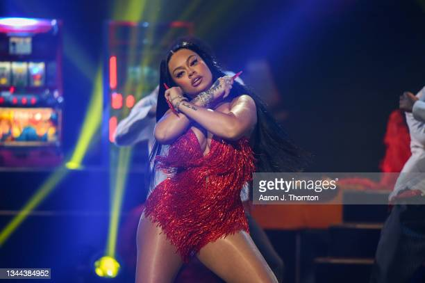 Latto performs onstage during the 2021 BET Hip Hop Awards at Cobb Energy Performing Arts Centre on October 01, 2021 in Atlanta, Georgia.