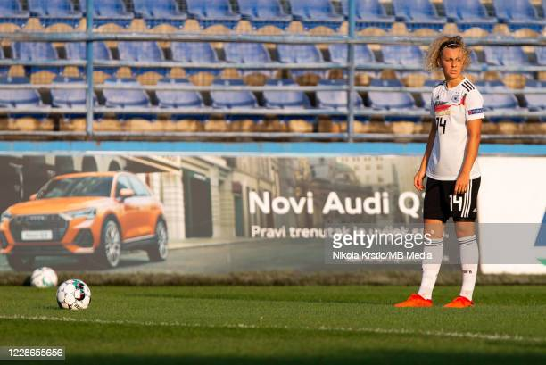 Lattwein of Germany prepares to take the free kick during the UEFA Women's EURO 2022 Qualifier match between Montenegro and Germany at Pod Goricom on...