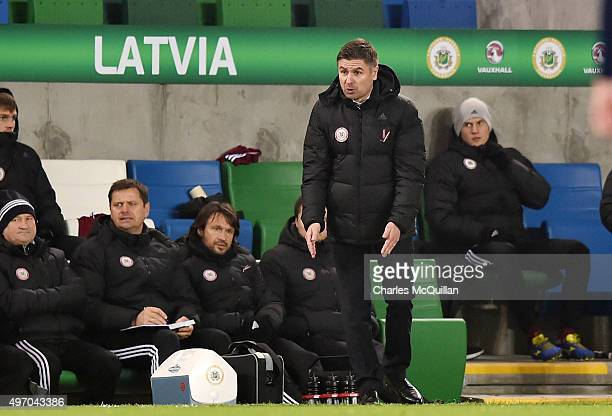 Latvia manager Marian Pahars pictured during the international football friendly between Northern Ireland and Latvia at Windsor Park on November 13...