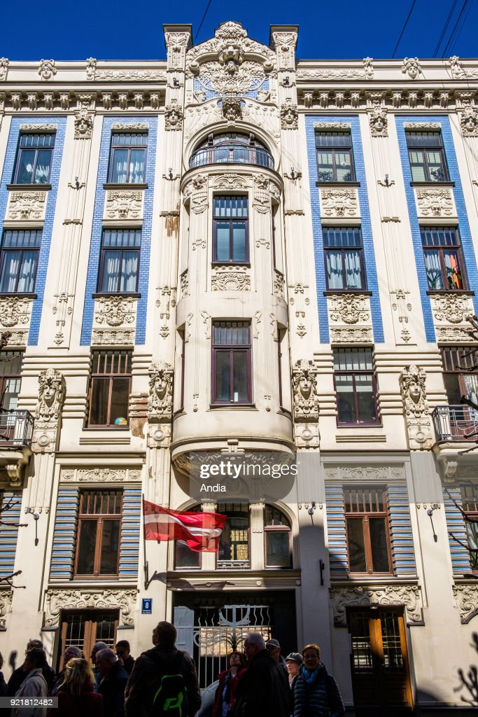 Latvia, Riga. Buildings in the Art Nouveau style in the medieval Old Town (Vecriga). Facades by Russian architect Mikhail Eisenstein, Alberta Street (Alberta iela).