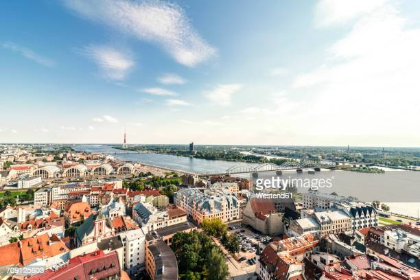 Latvia, Riga, cityscape with old town, and bridges over Daugava River