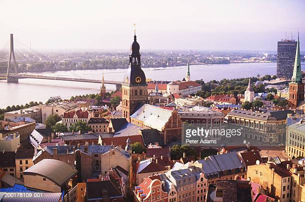 latvia, riga, elevated view - riga stock pictures, royalty-free photos & images