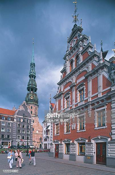 Latvia Riga Historic Centre House of Blackheads and Gothic St Peter's Church