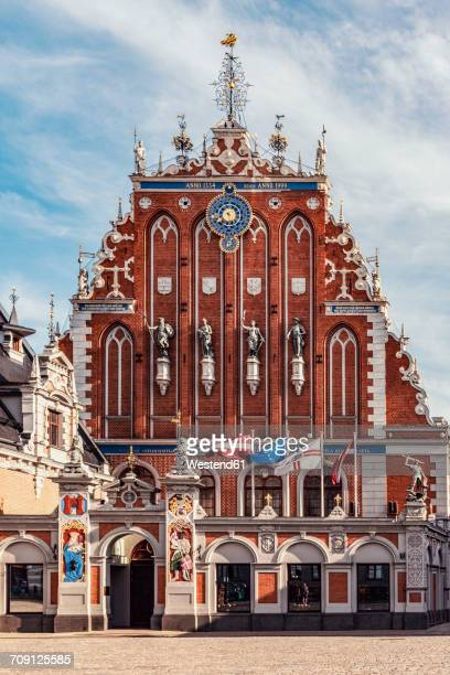 latvia, riga, house of the blackheads at town hall square - blackheads stock photos and pictures