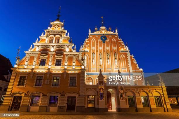 Latvia, Riga, Illuminated House of the Blackheads at night
