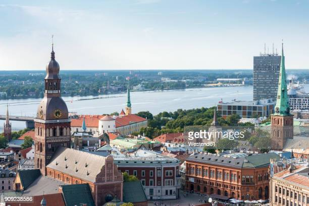 Latvia, Riga, Old town, with Riga Cathedral and St. Peters Church, Riga Castle and Daugava river