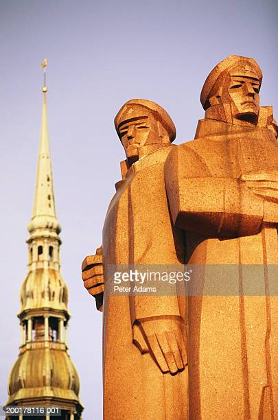 Latvia, Riga, Riflemen Monument and church steeple