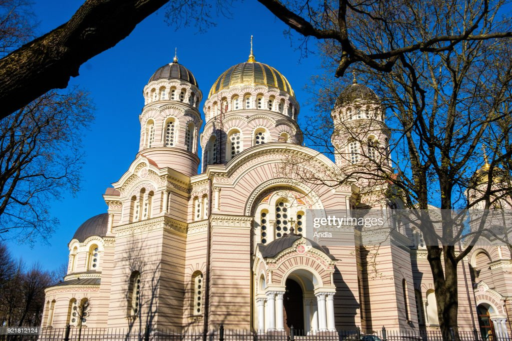 Latvia, Riga. The Nativity of Christ Cathedral built to a design by Nikolai Chagin in a Neo-Byzantine style between 1876 and 1883.