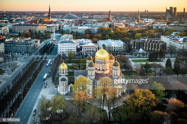 Latvia Riga The Nativity of Christ Cathedral built to a design by Nikolai Chagin in a NeoByzantine style between 1876 and 1883 Viewed from above at...