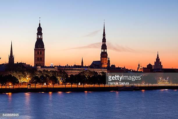 Latvia, Riga, View of city across River Daugava