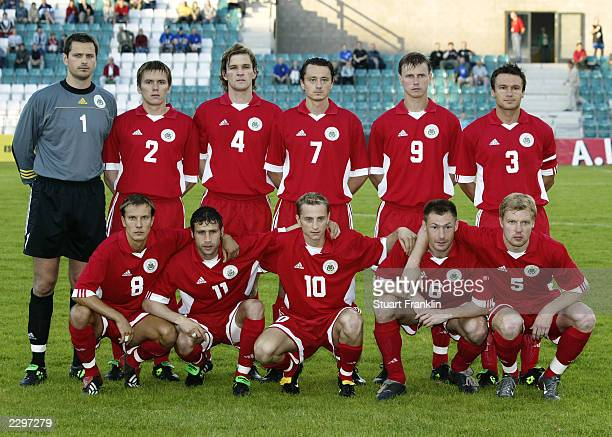 Latvia team group taken before the Baltic Cup match between Latvia and Estonia held on July 5 2003 at the ALe Coq Arena in Tallinn Estonia The match...