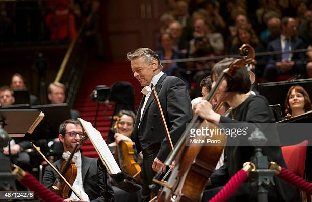 Latvian conductor Mariss Jansons acknowlegdes applause after his final concert with the Royal Concertgebouw Orchestra on March 20 2015 in Amsterdam...