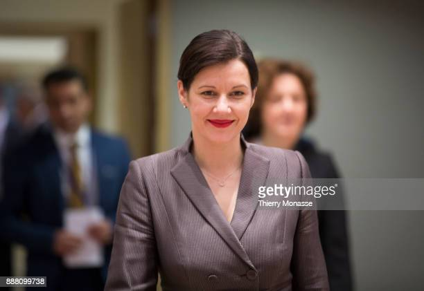 Latvian Finance Minister Dana ReiznieceOzola arrives for an Eurogroup where the new President will be nominate