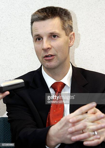 Latvian Foreign Affairs minister Artis Pabriks gives an informal press point on the sidelines of the General Affairs Council in EU Headquarters in...