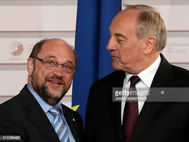 Latvian President Andris Berzins welcomes President of European Parliament Martin Schulz at the House of the Blackhead upon arrival for an informal...