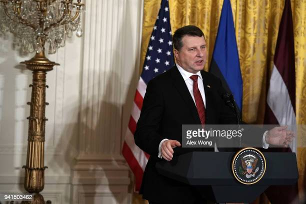 Latvian President Raimonds Vejonis speaks during a joint news conference in the East Room of the White House April 3 2018 in Washington DC Marking...