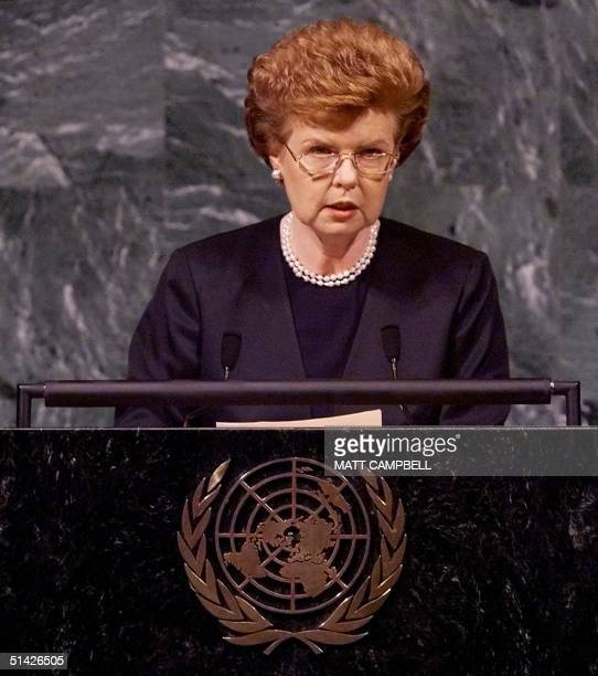 Latvian President Vaira VikeFreiberga addresses the fiftyfourth session of the United Nations General Assembly 22 September 1999 at UN headquarters...