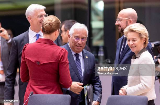 Latvian Prime Minister Krisjanis Karins talks with the Danish Prime Minister Mette Frederiksen the Portugese Prime Minister Antonio Costa the...