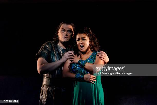 Latvian tenor Aleksandrs Antonenko and Russian soprano Anna Netrebko perform at the final dress rehearsal prior to the season revival of the...