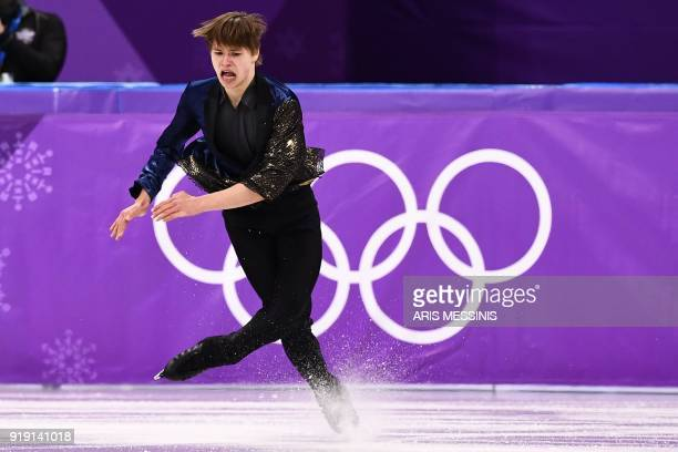 TOPSHOT Latvia's Deniss Vasiljevs competes in the men's single skating free skating of the figure skating event during the Pyeongchang 2018 Winter...