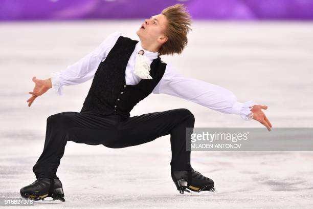 Latvia's Deniss Vasiljevs competes in the men's single skating short program of the figure skating event during the Pyeongchang 2018 Winter Olympic...