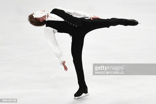 TOPSHOT Latvia's Deniss Vasiljevs performs during the men's short program at the World Figure Skating Championships on March 22 2018 in Milan / AFP...